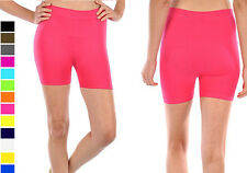 Women's Quality Basic Seamless Exercise Workout Stretch Spandex Biker Shorts