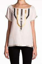 Madison Marcus Beaded Short Sleeve Silk Top Egg Shirt Cream Gold Silver NEW
