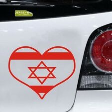 I Love Israel Jewish Hebrew Heart Shape Flag of Israel  Car Decal Sticker