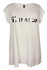 New Ladies White Silver Mirror Print Jersey Tunic Top Plus Sizes 16 - 32
