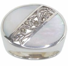 White Mother Of Pearl and Marcasite Sterling Silver Ring