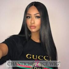 100 Indian Remy Human Hair Lace Front Wigs Black Women Silky Straight Full Wig