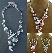 Vintage Style Wavy Red Blue Turquoise Tibet Silver Statement Pendant Necklace
