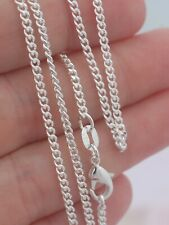 1mm Cut CURB Chain Necklace 925 Sterling Silver Jewelry 16 18 20 22 24 26 28 30