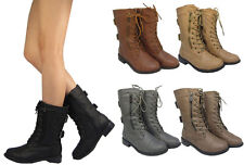 Top Moda Pack-72 New Women's Military Lace up  Fashion - Mid-Calf Boots