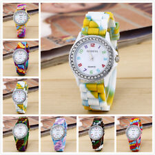 Women's Geneva Rainbow Color Silicon Band Analog Wrist Watch Rhinestone Case