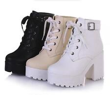 womens lace up high chunky heel belt platform ankle boots casual shoes plus size
