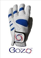 1 100% Cabretta Leather Golf Glove With Logo S M ML M/L L XL Blue & White