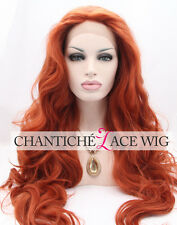 Ladies Red Long Wavy Synthetic Hair Glueless Lace Front Wigs Heat Resistant #360