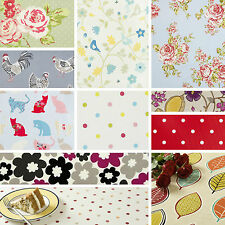 """Clarke and Clarke Round PVC Oilcloth Fabric Vintage & Red Tablecloth 120cm (47"""")"""