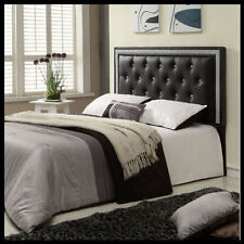 Headboard Button Tufted Faux Leather Upholstered Bedroom Bed Furniture Black