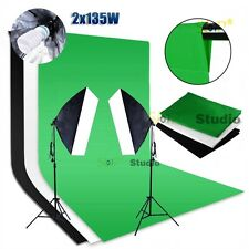 Photography Backdrop Video Continuous Softbox Lighting Soft Box Light Stand Kit