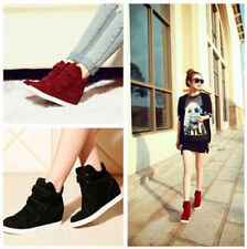 4 Color Strap Canvas Wedge Hidden Heels High Top Ankle Boots Sneaker Women Shoes