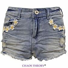 WOMENS DAISY LACE DENIM CUT-OFF LADIES FLOWER SHORTS TROUSERS JEANS HOT PANTS