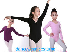 New Kids Girls Cotton Long Sleeve Ballet Gymnastics Dance Leotard 3Colors SZ3-8