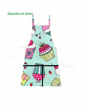 ** NEW ITEM ** 2 Pocket Child Size Aprons - Assorted Cupcake Designs