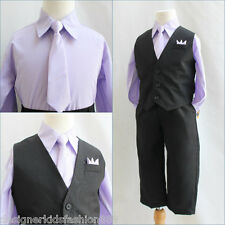 Solid Black Lilac/Iris purple boy 4 pc set vest tie wedding party formal suit