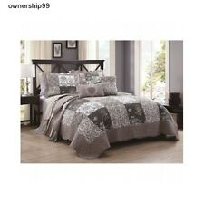 Embroidered Quilt Set 5 Piece Queen King Size Bedding Cotton Shams Comforter New