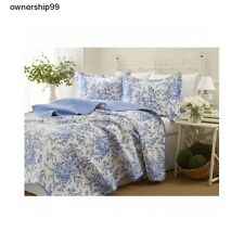 Reversible Quilt Set 3 Piece Twin Full Queen King Size Bed Blue Cotton Bedding