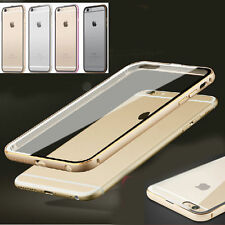 Ultra-Thin Aluminum Metal Bumper Clear Back Case Cover SKin for iPhone 6+Plus