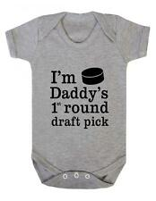 "Baby Grow ""Ice Hockey - Daddys 1st round Draft Pick""  Ice Hockey - Baby Grow"