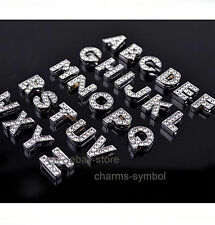 A-Z Clear Rhinestone Slide Letters Charms Fit 8MM Bracelets Belts Bangles