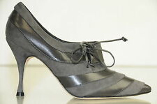 $945 New Manolo Blahnik TRIFULCA Grey Suede Pumps Ankle Booties Shoes 36