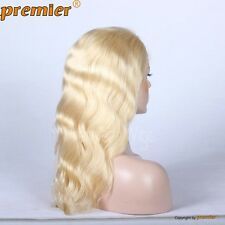 Blond Body Wave 100% Chinese Virgin Human Hair Full Lace Wig Bleached 613#