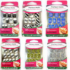 Perfect Nails French 12 False Fake French Sticker Nails Tips Assorted Design