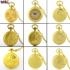 Antique Luxury Gold Steampunk Pocket Watch Pendant Chain Quartz Pendant Gift New