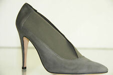 $1175 New Manolo Blahnik Grey Suede Pumps Ankle Booties boots Stretch Shoes 36.5