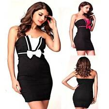 Black Strapless Sexy Stretch Fit Bodycon Casual Evening Clubwear Party Bow Dress