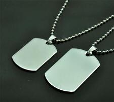 Titanium Steel Dog Tags Pendants Necklace Jewelry Metal Bead Chain Silver New