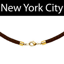 """5mm Brown Braided Bolo Leather Choker Necklace Cord Gold Toned Clasp 28"""" in NYC"""