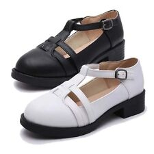 Trendy Chunky Mid Heel Pumps Mary Janes Round Toe Buckle Smart Office Work Shoe