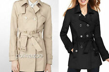 Women's Calvin Klein Double breasted belted Trench Coat Black or Khaki 2015 NEW
