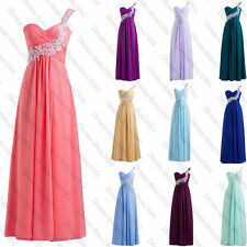 STOCK Bridesmaid Long Chiffon Prom Ball Gown Evening Party Wedding Dress Sz6-18