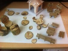 Fairy GARDEN ,miniature  WOODLAND TABLEs , chairs,lamps ,stepping stones, bench