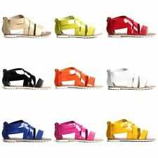 Womens Ladies  Summer Sandals Strappy Zip Up Faux Leather Low Heel Shoes