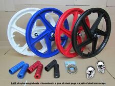 "COPPIA di 20 ""in nylon bicicletta BMX MAG WHEEL Set 10mm ASSALE ANTERIORE POSTERIORE FREESTYLE 4 COLORI"