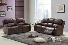 Huntington 2-pc Sofa and Loveseat Set with 4 Recliners Bonded Leather