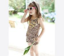 Summer Girl Clothing Set Kids Cotton Leopard Print Suit For Child 4 5 6 years