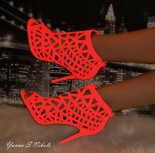 Neon Coral Perforated Cutout Design Open Toe Sexy Ankle Bootie Heels, US 6.5, 8