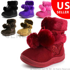 New Toddler Little Girl's Zello Glitter Pom Pom Boots (Toddler 4 5 6 7 8 9 10)