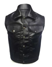 MENS REAL COW LEATHER BLACK MOTORCYCLE BIKER STYLE VEST WAISTCOAT - (B13)