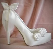 Ivory Bridal Shoes White Satin Boutique Rose Fairytale Bow Wedding Vintage Chic