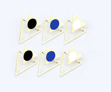 European Style Gold Plated Hollow Out Enamel Double Triangle Earring Ear Stud