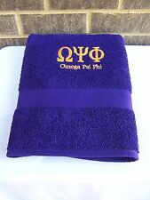 OMEGA PSI PHI Greek Letter Embroidered Bath Towel, 2 pc Set or 3 pc Towel Set