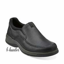 New Clarks Portland 2 Easy Mens Black Leather Slip On Casual Shoes 26066042