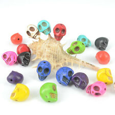 Wholesale New Howlite Turquoise Fashion Charm Carved Skull Loose Beads Findings